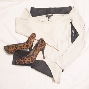 NWT Missguided Nude Off Shoulder Bodysuit